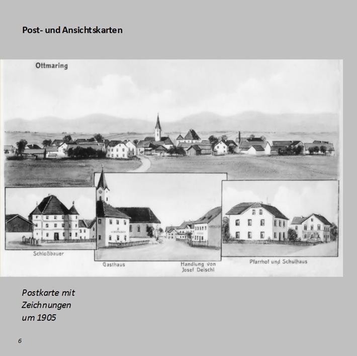 Postkarte mit Zeichnungen aus Ottmaring um 1905