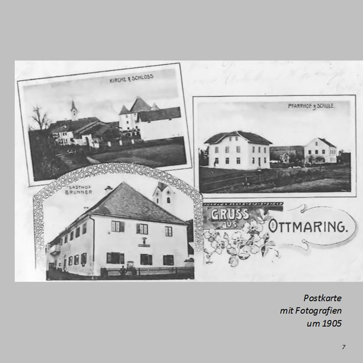 Postkarte mit Fotografien aus Ottmaring um 1905