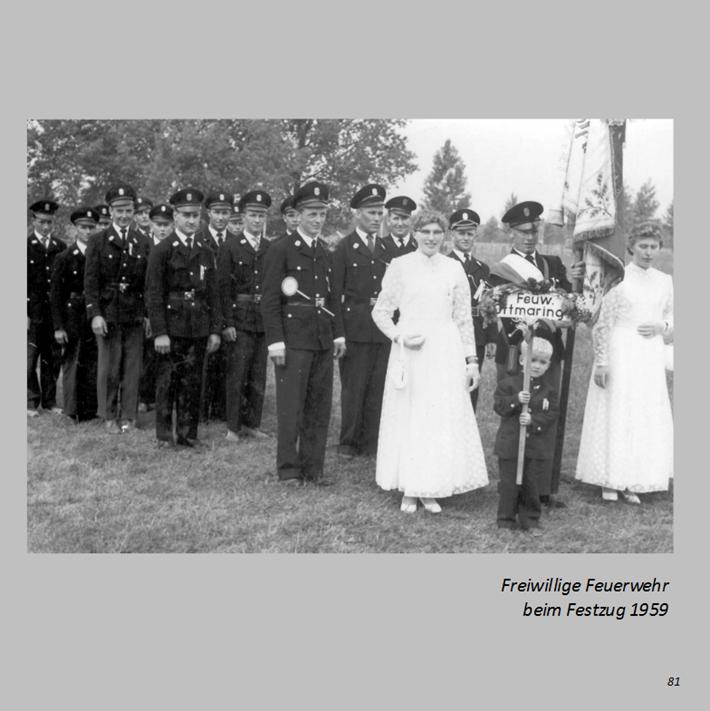 Freiwillige Feuerwehr beim Festzug in Ottmaring 1959