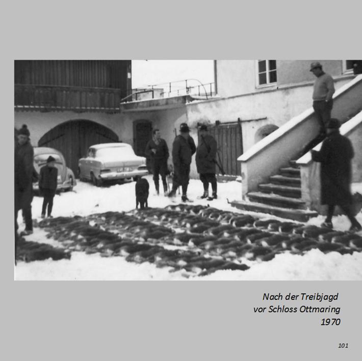 Nach der Treibjagd vor Schloss Ottmaring 1970