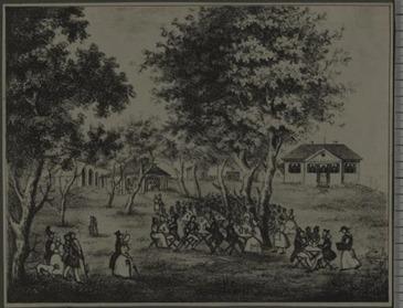 Original-Litographie der Gartenwirtschaft Zum Tivoli in München um 1830