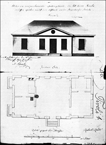 Bauplan vom Stadtmaurermeister Höchle für das Gartengebäude des Raphael Kaula