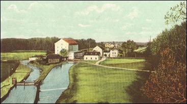 Kunstmühle Tivoli mit Tivolikraftwerk und Maffei'scher Fabrik im Hintergrund