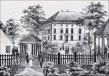Wirtschaft zum Paradiesgarten an der Oettingenstraße um 1820