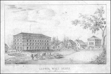 Ludwig Walz Mühle bei München - Erinnerung 1848 - Quelle: https://www.zvab.com/kunst-grafik-poster/M%C3%9CNCHEN-Walzm%C3%BChle-Ansicht-Ludwig-Walz-M%C3%BChle/15108996901/bd