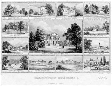 Poppel - Stahlstich-Souvenirblatt mit der Umgebung Münchens um 1850