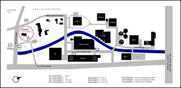 Lage des ehemaligen Baubüros und Lagerplatzes